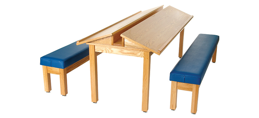 Horizon Hardwood-Frame Reading Table & Bench (Library)