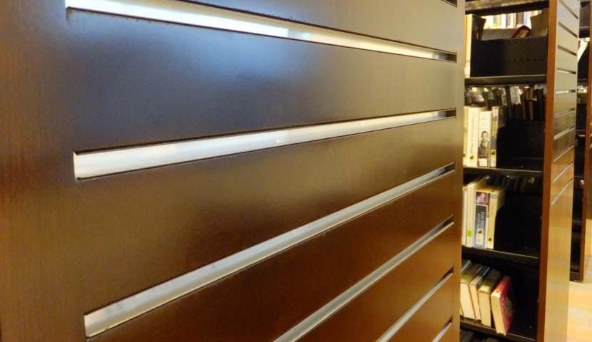Collingwood Public Library Slatwall End panel closeup